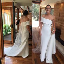 Vestidos de novia de sirena simples, un hombro, tren de barrido, satén, jardín, campo, playa, vestidos de novia, batas personalizadas, baratas