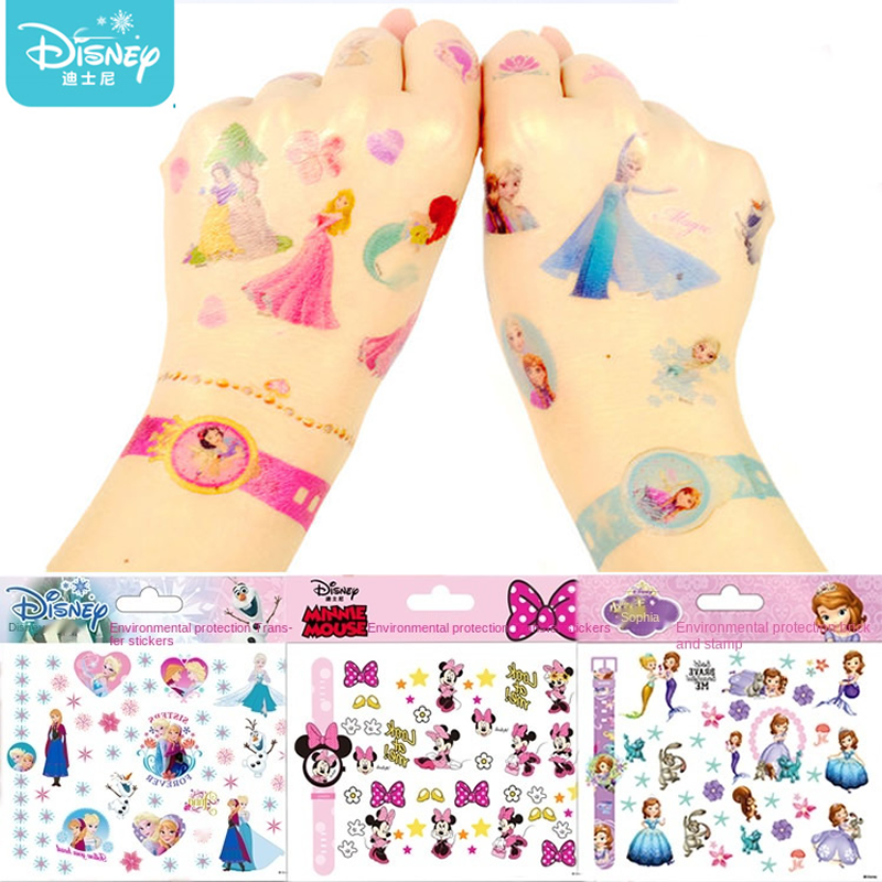 Disney Girls Frozen Princess Tattoo Stickers Designer Toy Cute Cartoon Mickey Minnie Kids Baby waterproof Sticker Christmas Gift
