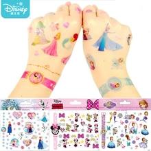 Disney Girls Frozen Princess Tattoo Stickers Designer Toy Cute Cartoon Mickey Minnie Kids Baby waterproof Sticker Christmas Gift