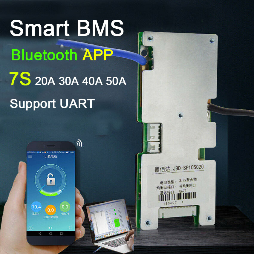 Smart BMS 7S 24V 20A 30A 40A 50A Li-ion Lithium Battery Protection Board W Balance BMS System Bluetooth APP Software Monitor