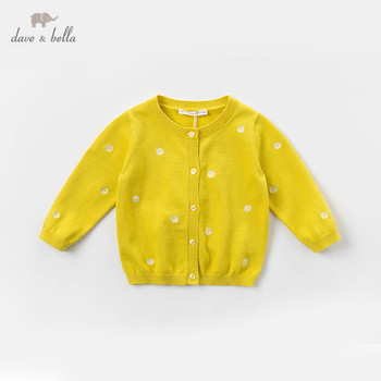 DBZ13690 dave bella spring infant baby girls fashion floral embroidery cardigan kids toddler coat children cute knitted sweater image