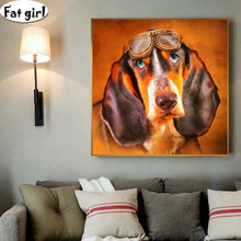5D diamond painting Portrait of a dog wearing glasses square round Rhinestone mosaic Diamond patch embroidery Handmade crafts(China)