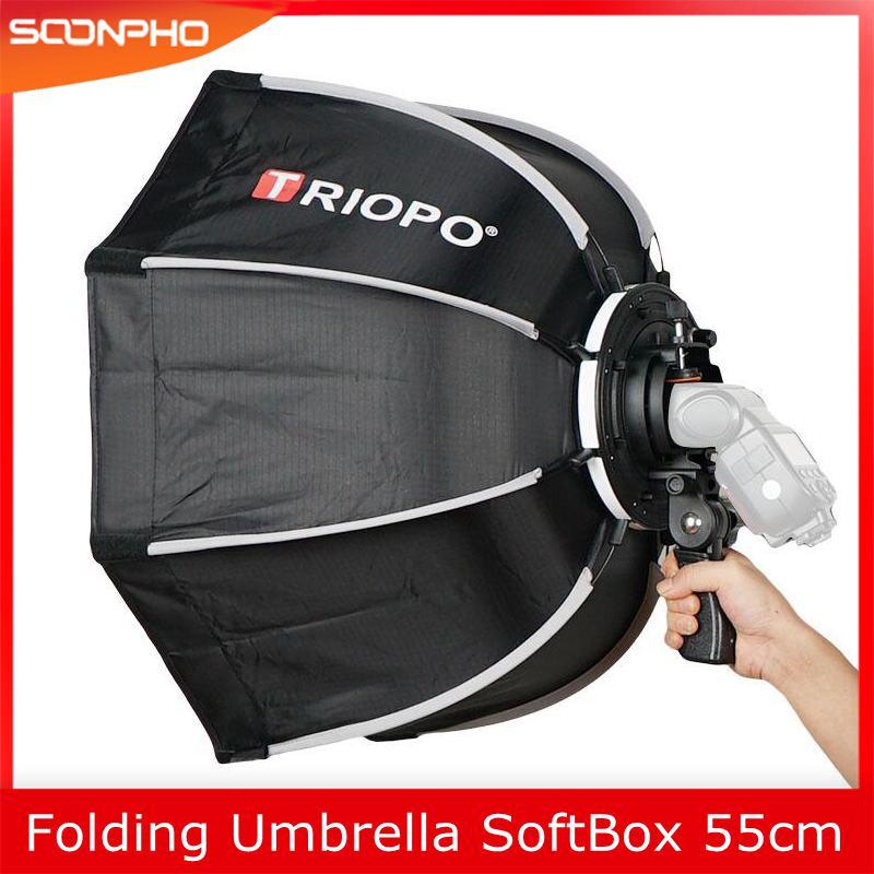 TRIOPO 55cm Foldable Octagon Softbox Bracket Mount Soft box Handle for Canon Nikon Fuji Godox Yongnuo Speedlite Flash Light
