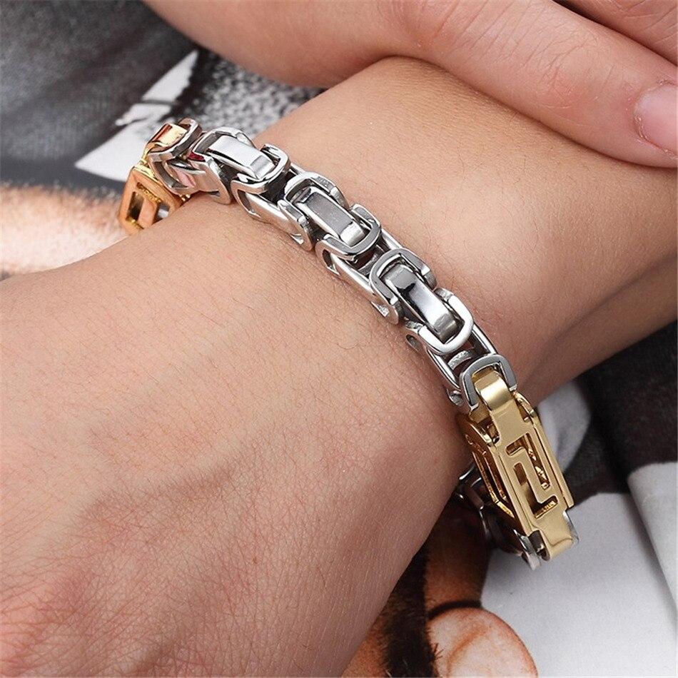 Stainless Steel Chain Bracelets Gold Silver Color Lobster Clasp Bracelet for Men Women Accessory