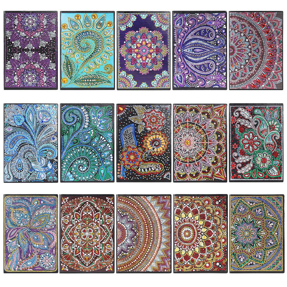 DIY Mandala Special Shaped Diamond Painting 50 Pages A5 Notebook Christmas Gifts For Kids Drill Embroidery Notebook Craft Toys