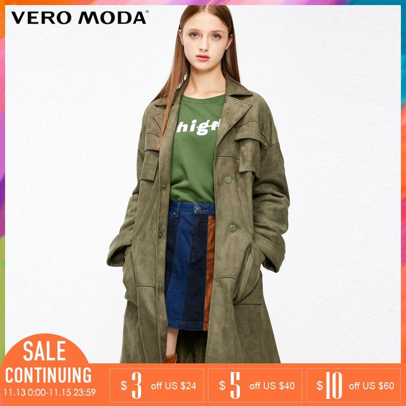 Vero Moda Multiple Pockets Concealed Buttons Pure Color Trench Coat | 318409514