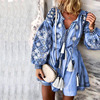 Summer Autumn Sexy V-Neck Boho Dress Tassel Hollow Out Mini Dresses Women 2020 New Bohemian Floral Printed Beach Dress Vestidos