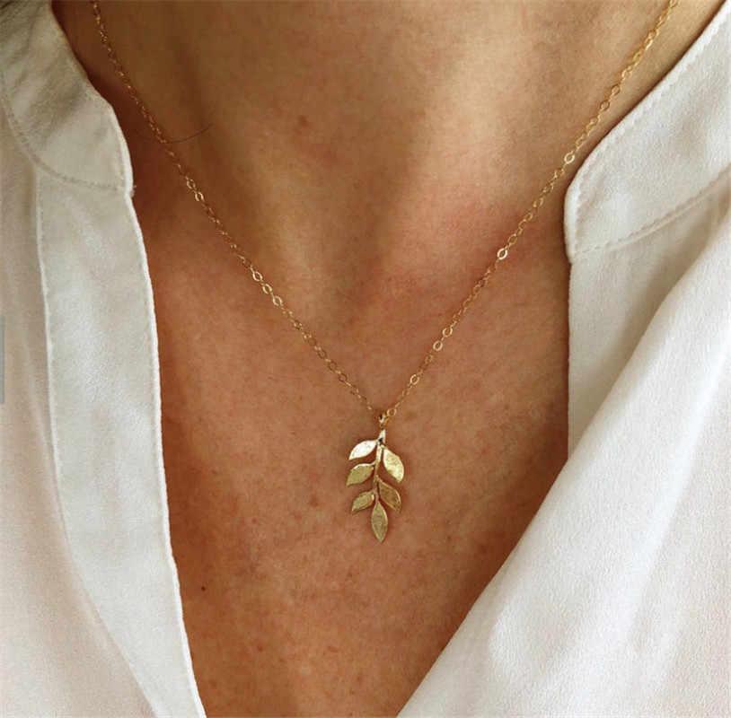 新葉ペンダントネックレスロングスタームーン鎖骨チェーンクリエイティブレトロ鎖骨チェーン女性シンプルな二重丸のネックレス