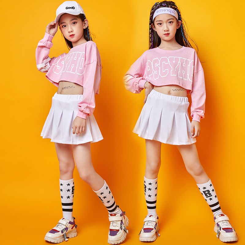Pink Jazz Dance Costumes Girls Hip Hop Performance Clothing Street Dance Practice Clothes Kids Cheerleader Rave Outfit DC2935