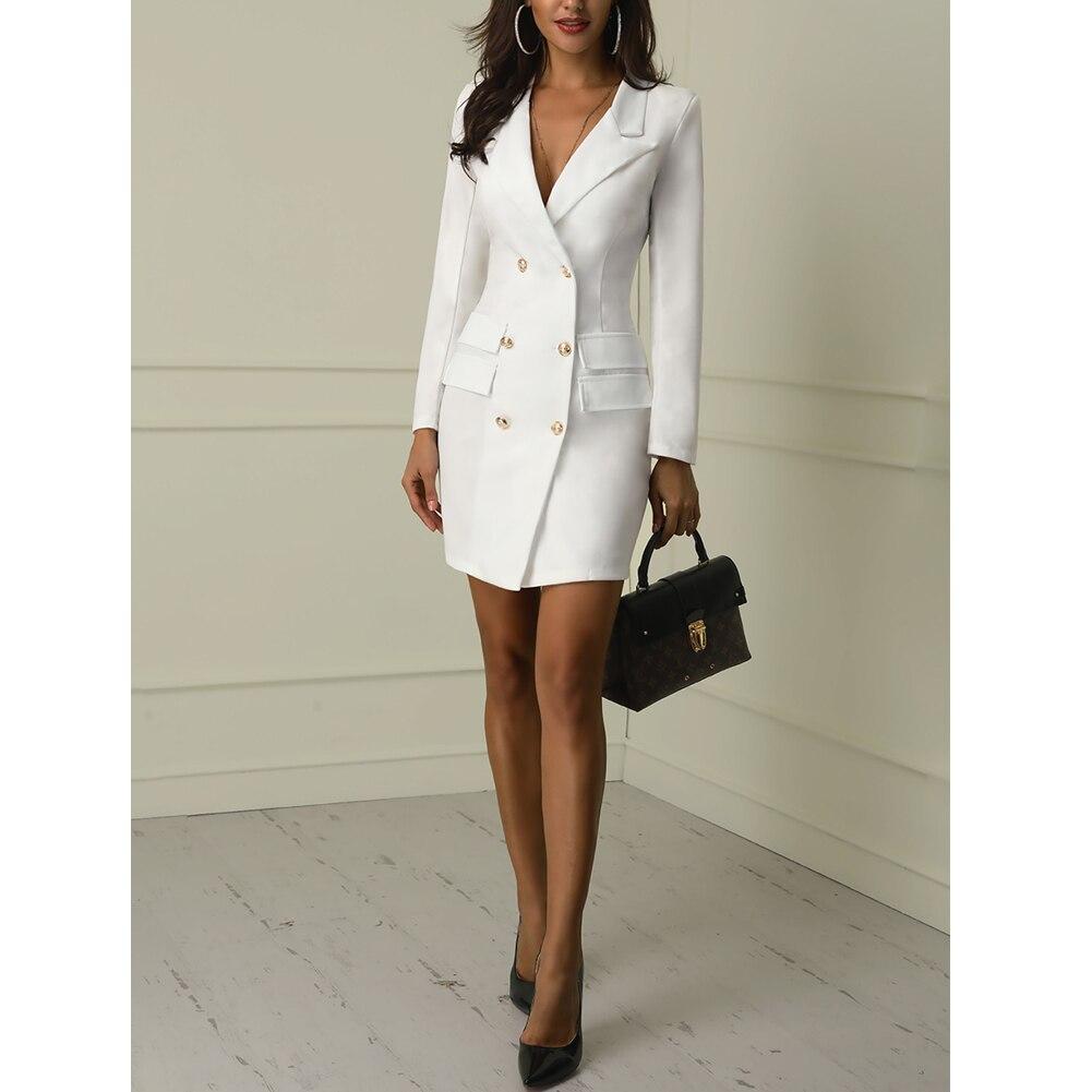 Autumn Winter Suit Blazer Women 19 New Casual Double Breasted Pocket Women Long Jackets Elegant Long Sleeve Blazer Outerwear 3