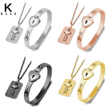 A Sets Couple Love Heart Lock Bangles Stainless Steel Creativity Multiple Bracelet Women Men Lover Jewelry Gift(China)