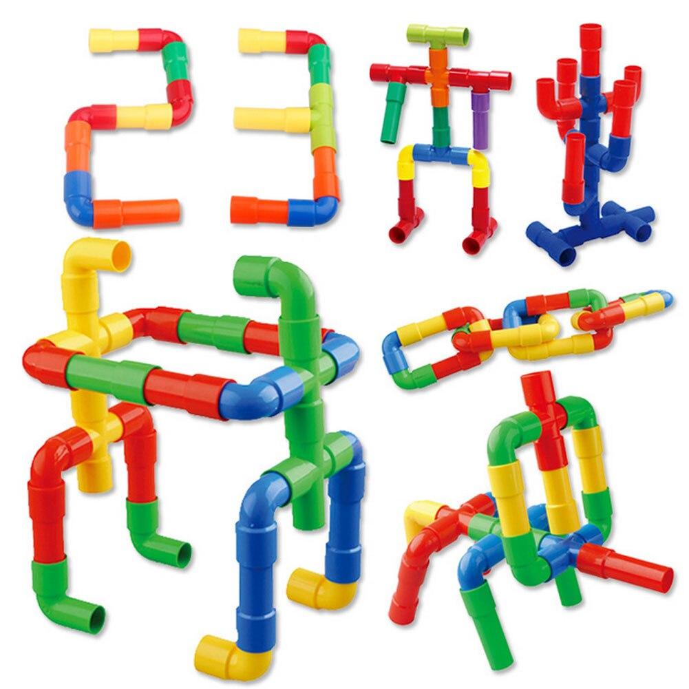 Juego de construcción de tuberías, bloques de construcción educativos DIY de plástico, juegos de montaje de tuberías multiforma