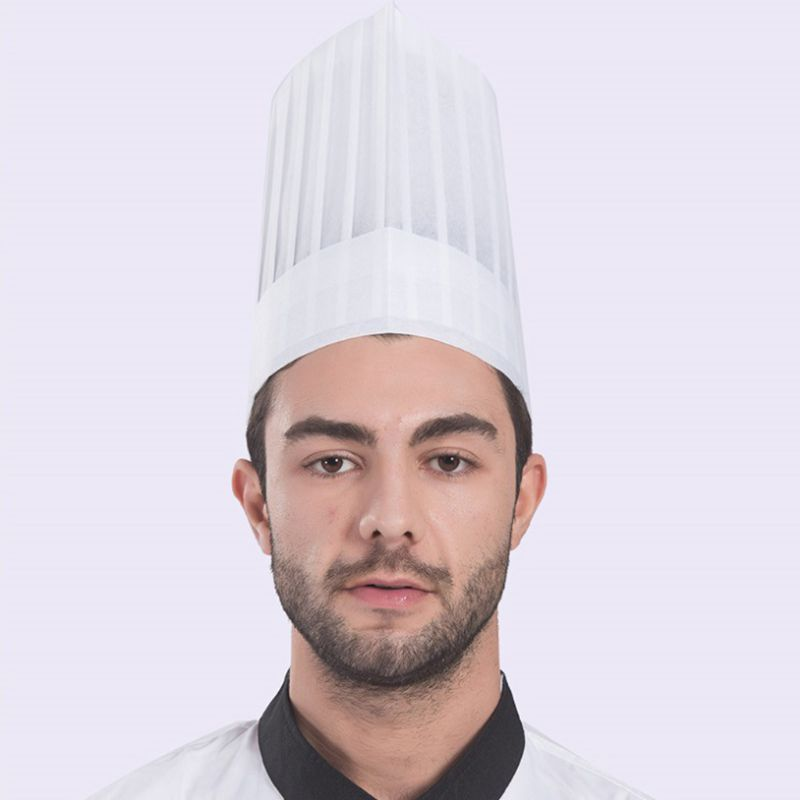 20Pcs Unisex Disposable White Non Woven Pleated Chef Tall Hat Cooking Round Cap