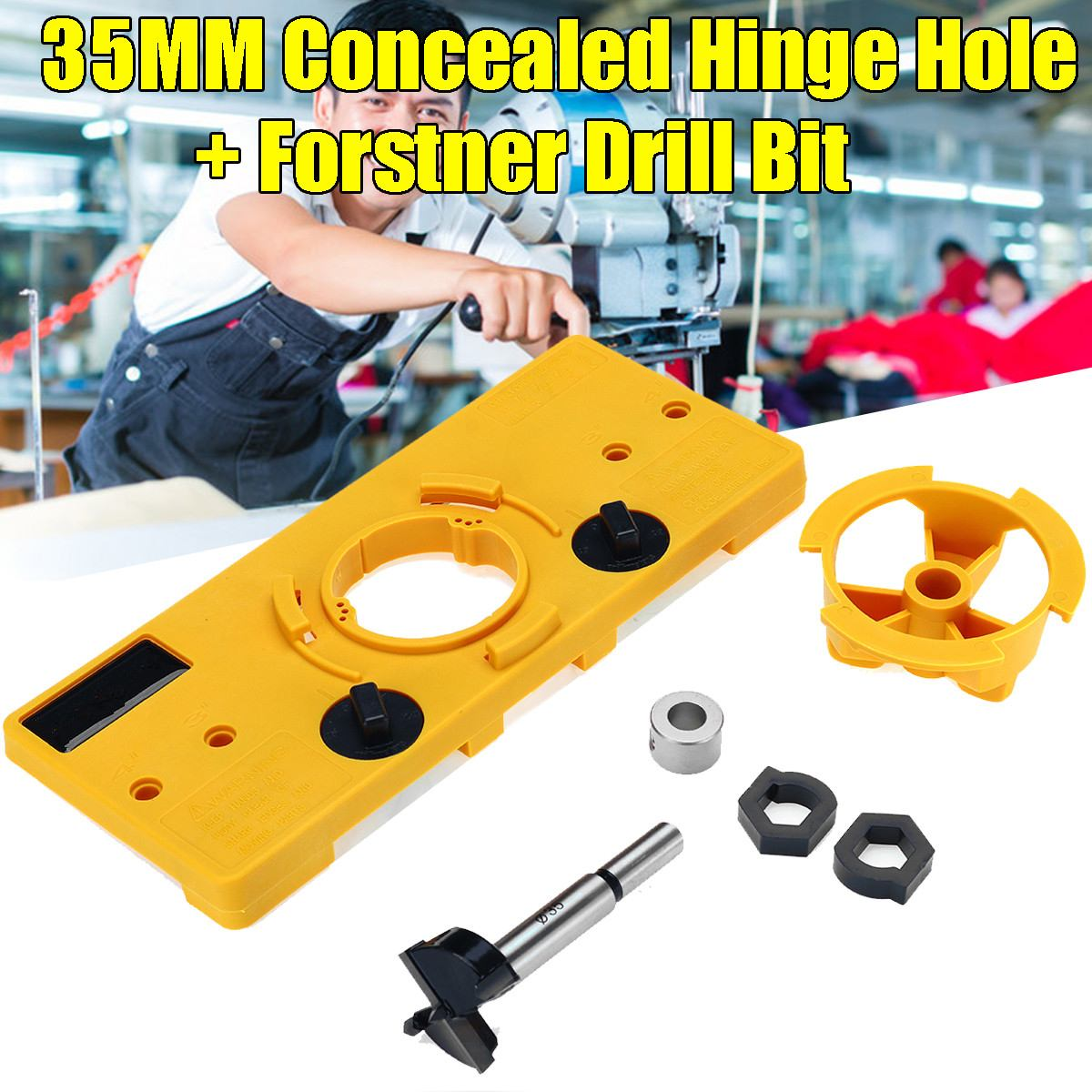 35mm Forstner Hinge Hole Saw Jig Drilling Guide Door Hole Locator Opener Template Wood Cutter Carpenter DIY Woodworking Tool Set