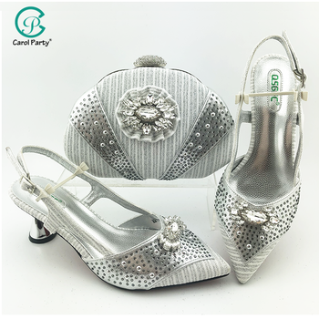Newest SIlver Color Shoes and Bag To Maching Italian Design Shoe and Bag Set For Party Nigerian Women Fashion Shoe and Bag Set