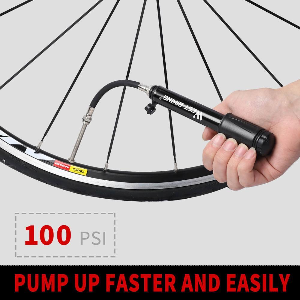 West Radfahren Mini Fahrradpumpe 100PSI Tragbar Reifen Luft Pumpe Mit Schlauch
