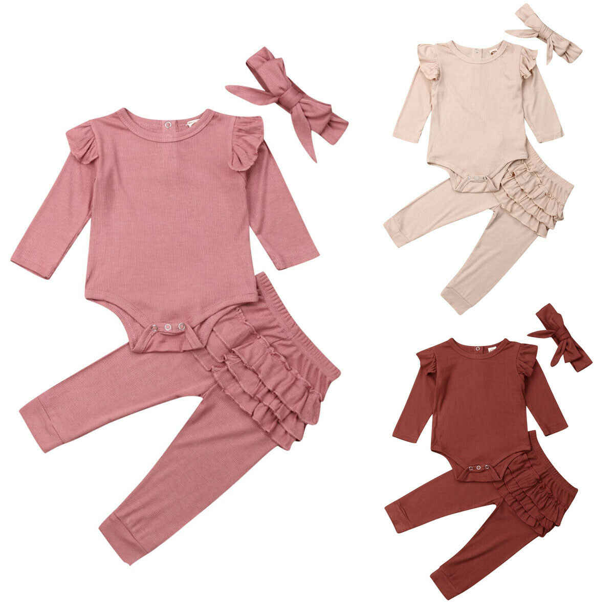 New 3Pcs Baby Girl Autumn Outfits Clothes Romper Top Ruffle Pants Headband Set