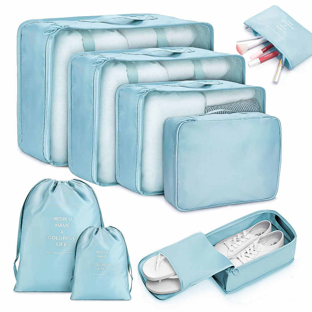 8pcs Travel Home Clothes Quilt Blanket Storage Bag Set Shoes Partition Tidy Organizer Wardrobe Suitcase Pouch Packing Cube Bags