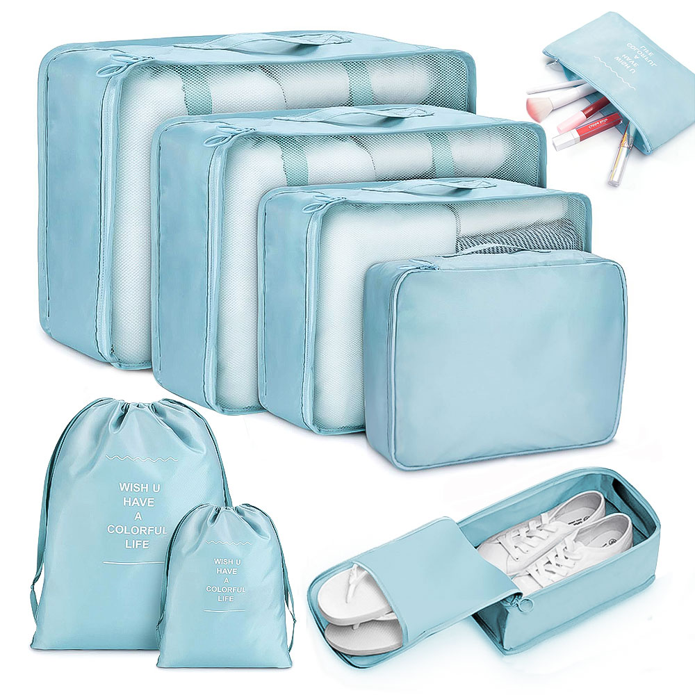 8pcs Travel Home Clothes Quilt Blanket Storage Bag Set Shoes Partition Tidy Organizer Wardrobe Suitcase Pouch Packing Cube Bags(China)