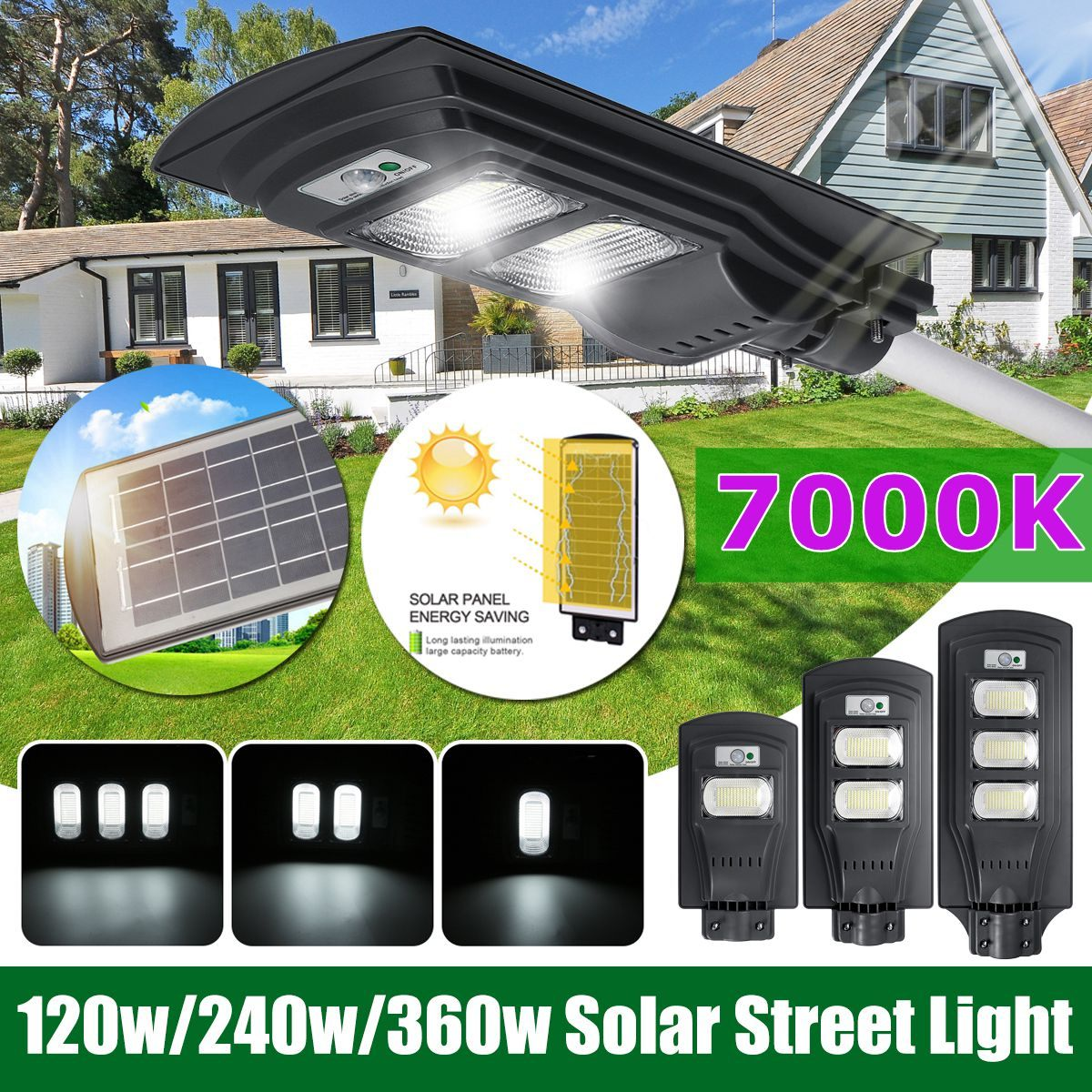 120W117LED/240W 234 LED/360W 351LED Solar Street Light Dusk To Dawn Outdoor Security Light 7000K IP65 Waterproof