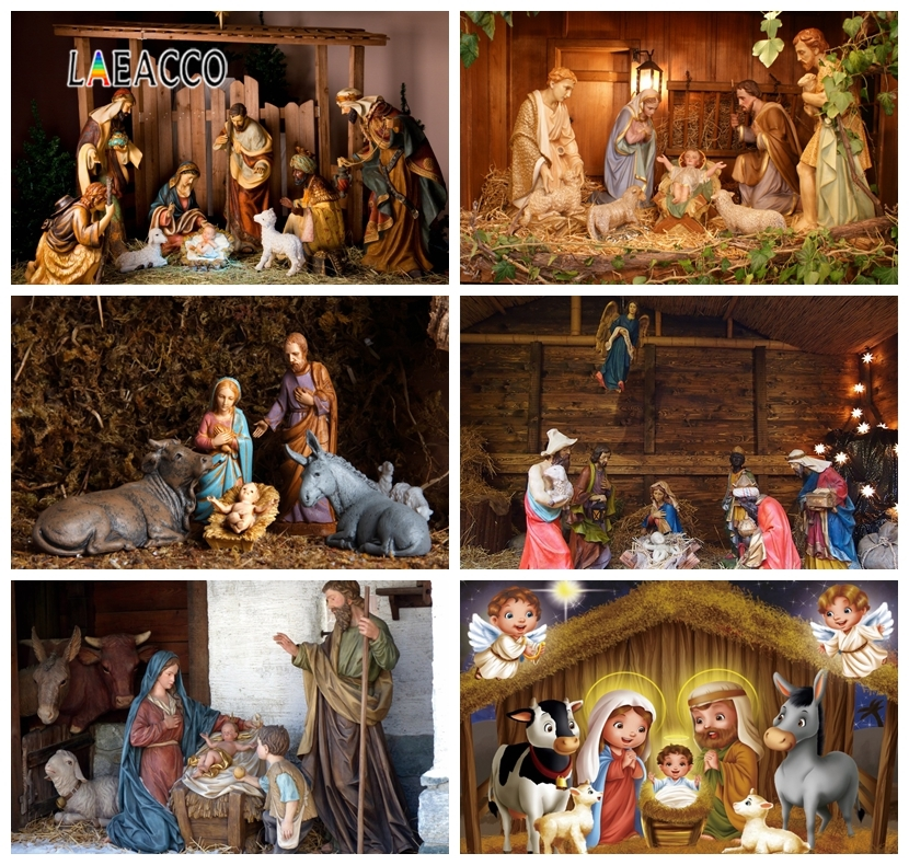 Laeacco Nativity Scene Birth Jesus Crib Child Photophone Baby Shower Photography Background Backdrops For Photo Studio Photozone