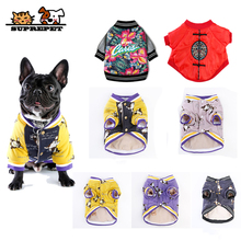 SUPREPET Dog Clothes Bulldog Costume Winter Warm Pet Jacket Coat Print Cotton Clothing Fashion Hoodies for