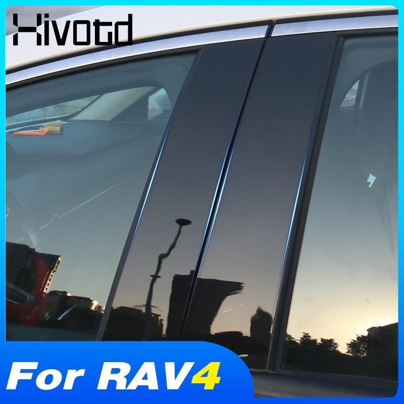 Autocollant de garniture de fenêtre de voiture, accessoire décoratif de pilier de fenêtre de miroir extérieur pour Toyota Rav4 2019 2020 2021