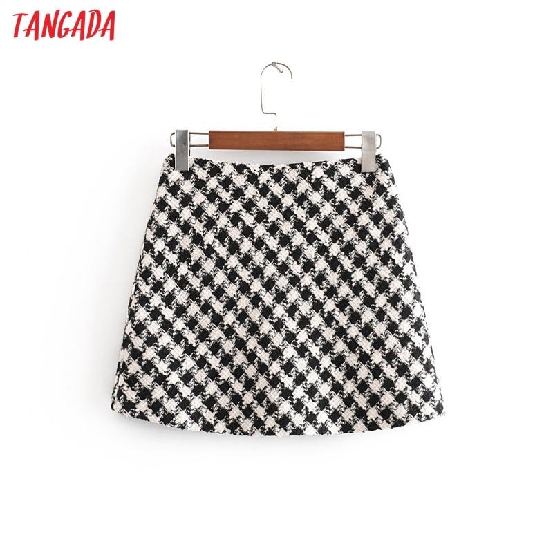 Tangada Fashion 2019 Women Plaid Pattern Winter Skirt Zipper Fly Retro Office Lady Mini Skirts Faldas Mujer 3H72