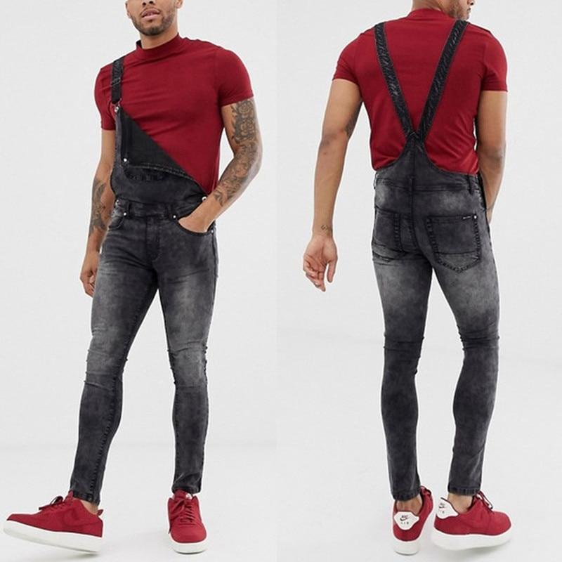 Rompers Suit Men Jeans Jumpsuit 2020 New Fashion Cotton Casual Male Denim Slim Skinny Pants Overalls Playsuits Plus Size
