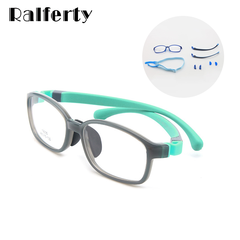 Ralferty Bendable Kids Children Glasses Detachable Silicone Strap Spectacle Frame Sport Goggles No Diopter Boy Girl Optic Frame