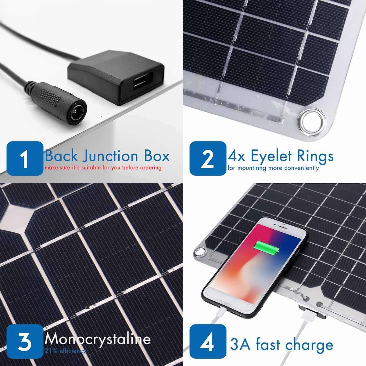 Wodoodporny 60W 12 V/24 V podwójne wyjście USB + port dc bateria słoneczna ładowanie z 10/20/30A Dual USB regulator sterownika