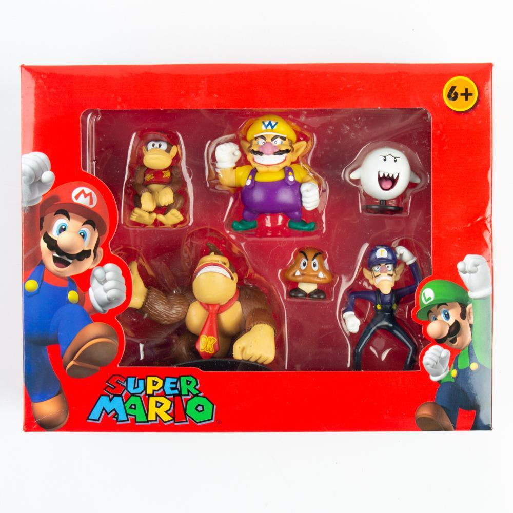 6Pcs/Set 3-8cm Super Mario Bros PVC Action Figure Toys Dolls Mario Luigi Yoshi Mushroom Donkey Kong In Gift Box Lovely Kids Gift