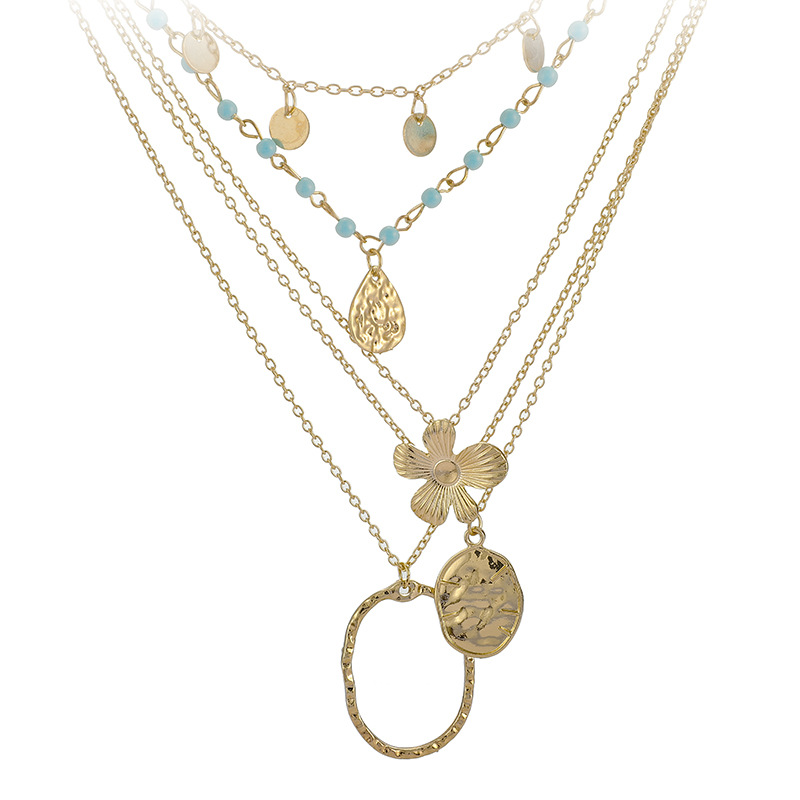 5 Pcs/set Bohemian Flower Multilayer Necklaces For Women Gold Coin Stone Bead Choker Pendant Necklace 2020 Ethnic Female Jewelry