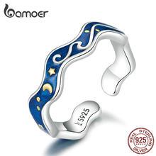 Bamoer – bagues d'amoureux en argent Sterling 925, pour Couple, ciel étoilé bleu de Van Gogh, ouvert, Design, accessoires, bijoux, SCR608