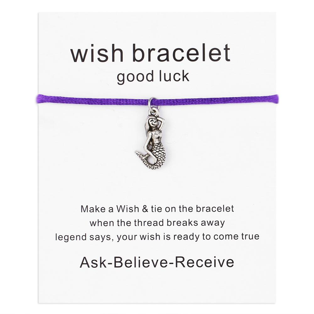 Wholesale Mermaid Full Body Wish Card Blessing Pendant Lot With Handmade Alloy Dangle Woven Adjustable Bracelet With Bead