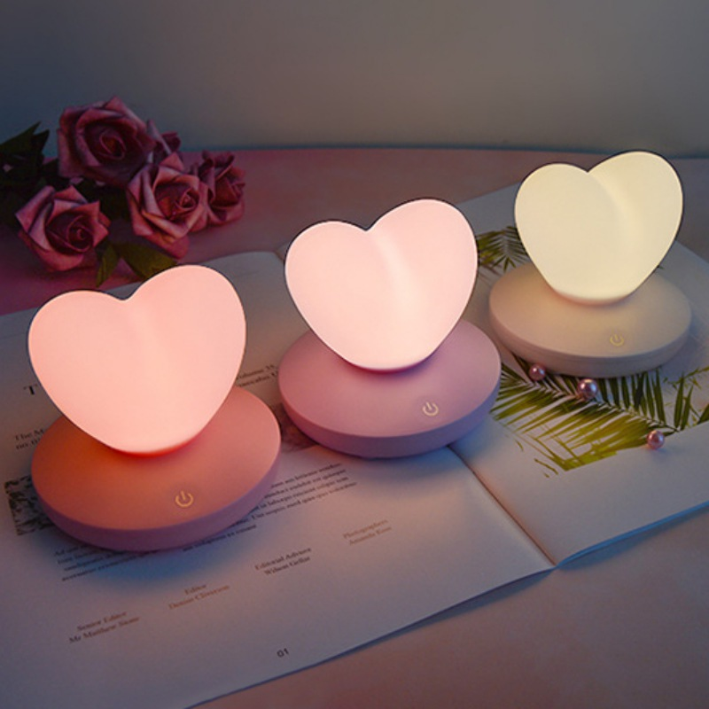 LED Touch Control Table Lamp USB Rechargable Girl Modeling Lamp Energy Saving Romantic Love Heart Shape Decoration Night Light