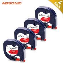 Étiquettes rouges en plastique 12mm 4PK pour imprimante Dymo Letratag 91203 pour LT QX50 XR XM 2000 Plus
