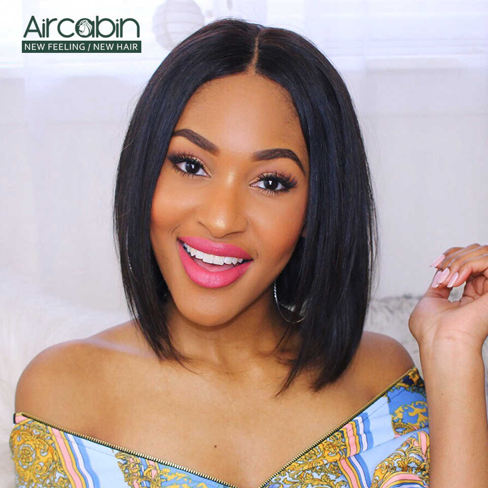 Aircabin 4x4 Lace Closure Bob Wig Brazilian Straight Human Hair Glueless Wigs Short Bob Wigs For Black Women Non-Remy Low Ratio
