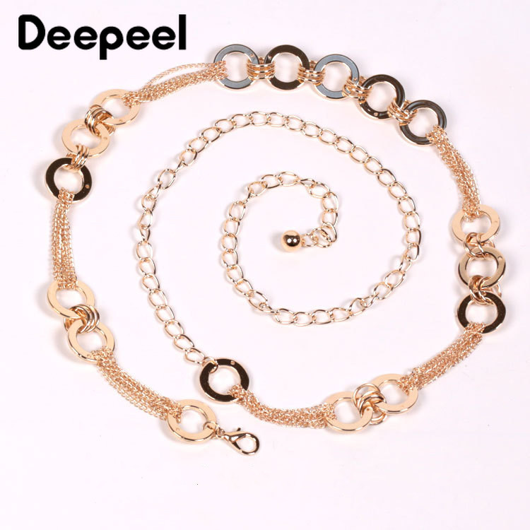 Deepeel 1pc 110cm Women Metal O Ring Patchwork Cunmmerbunds Brand Fashion Corset Chain Two Ways To Wear Dress Accessory CB657