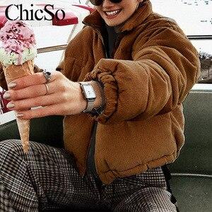 Image 2 - MissyChilli מזדמן למטה מעייל דובון נשים מעיל חורף נקבה חאקי streetwear קצר מעיל שלג ללבוש קורדרוי חם outerwear2020