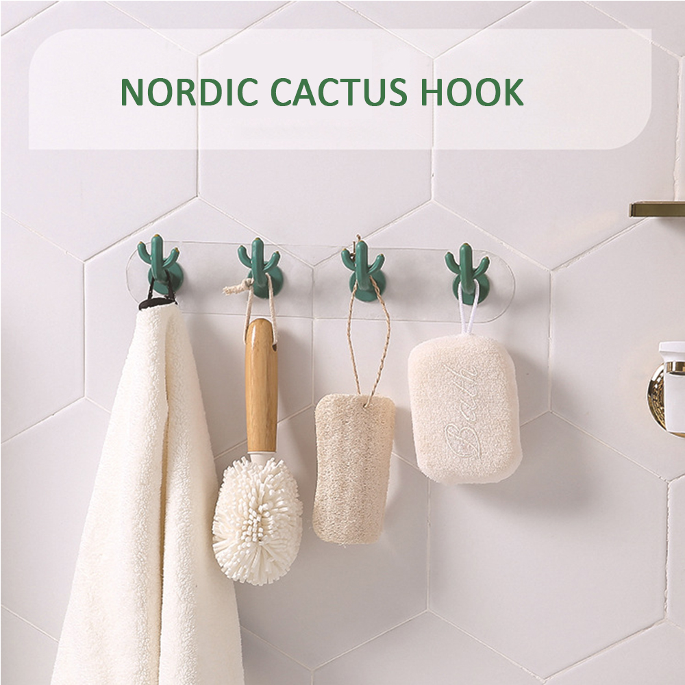 1 Pcs Adhesive Sticky Mount Hanger Rack Hook Wall Door Hanger Hook Coat Cabinet Towel Hook Multi-functional Cactus Hooks Durable