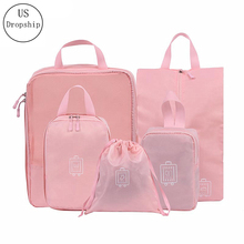 New 5pcs/Set High Quality luggage Travel Organiser Packing Cube for women Mesh Bag Waterproof Project