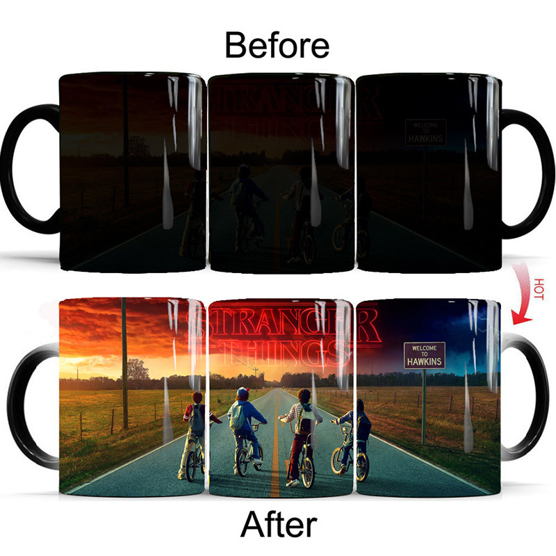 New 1Pcs Stranger Things Coffee Magic Mug 350mL Creative Color Changing Best Drinking utensils Gifts