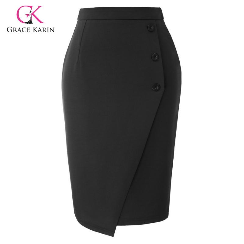 Grace Karin High Waist Button Decorated Pencil Skirt Women Back Split Bodycon Office Lady Skirts Formal Business Work Midi Skirt