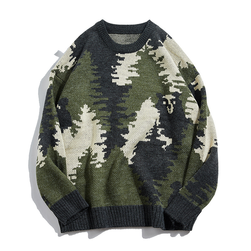 Autumn And Winter Sweater Male Jacquard Hedging Thick Sweater Army Green Japanese Retro Camouflage Sweater