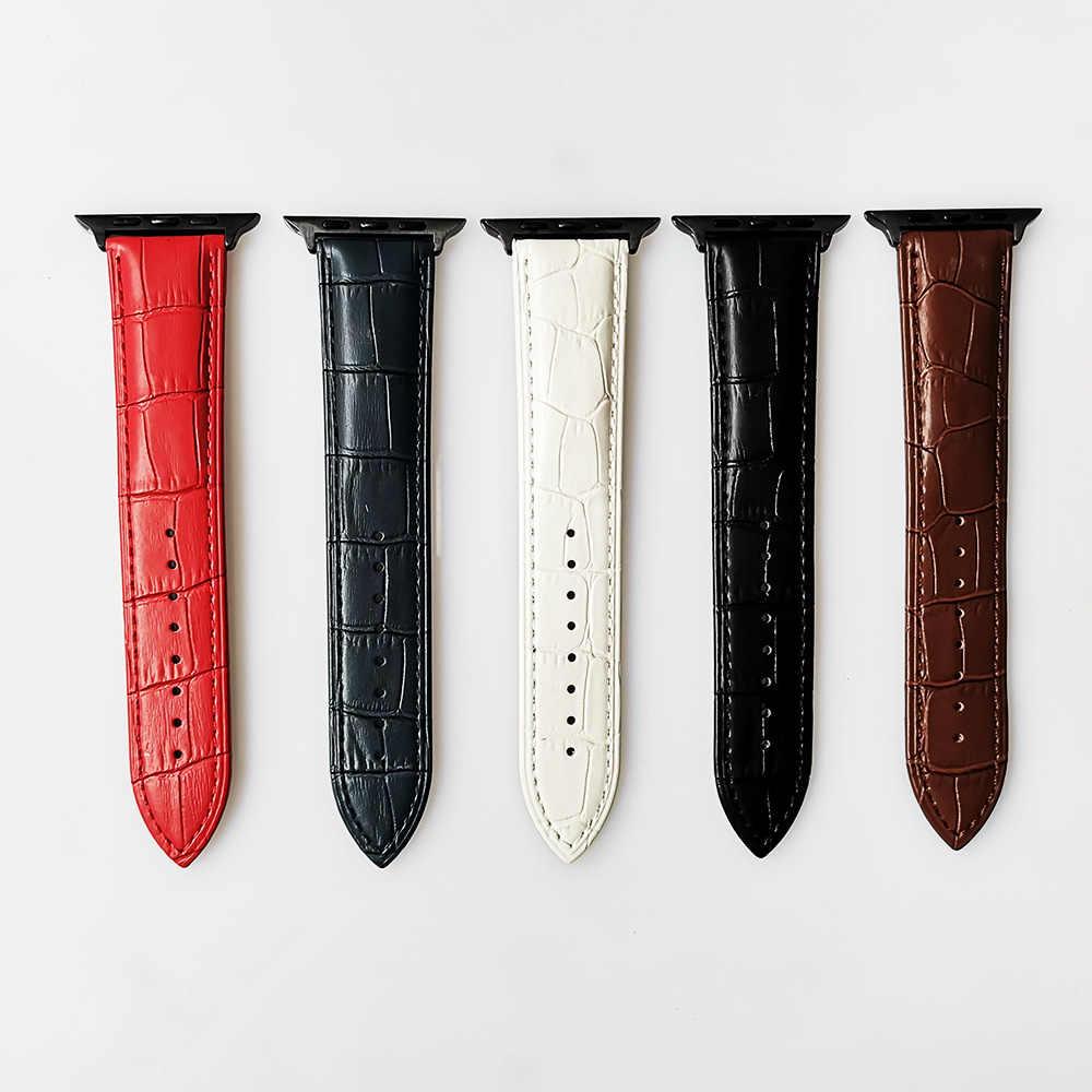 Inek deri bant için Apple Watch 42mm 38mm serisi 5/4/3/2/1 iWatch kayış 44mm 40mm bilezik saat kayışı koyu mavi, siyah. kırmızı