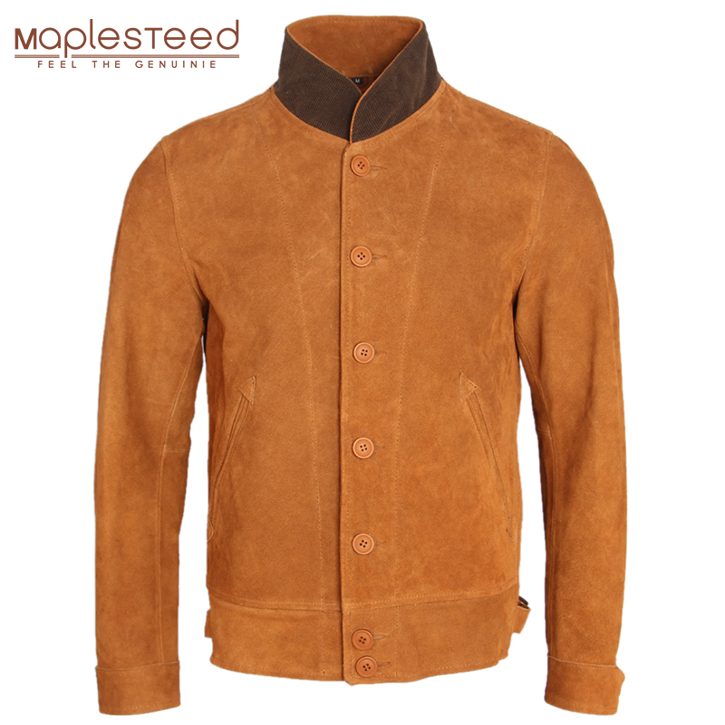 2019 Fashion Slim Men Leather Jacket Thick Natural Cow Suede Leather Jackets Single Breasted Men's Casual Winter Coat Warm M257