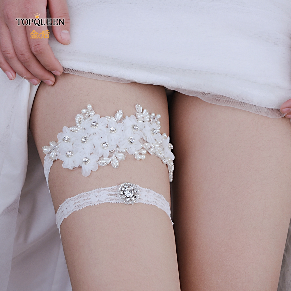 TOPQUEEN White Lace Flowers Bridal Accessories Wedding Garters  Women Girl Princess Cosplay Wedding Party Garter THS355 TH21