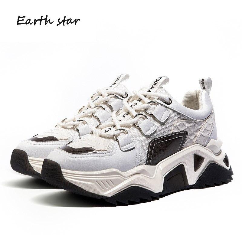 Повседневная Белая обувь; женские кроссовки на платформе; модная брендовая обувь из натуральной кожи; zapatos de mujer; женская обувь на толстой подошве; обувь для папы - 4
