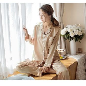 Women Pajamas Set Sleepwear Winter Long Sleeve Mujer Pijamas Nuisette Sexy Lingerie Nightwear Silk Satin Pyjamas pjs Suit 2Pcs 11
